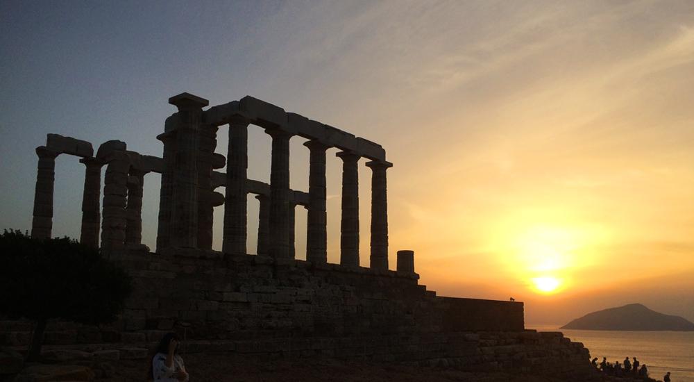 atenas, grecia, templo, poseidon, cabo, sounio, atardecer