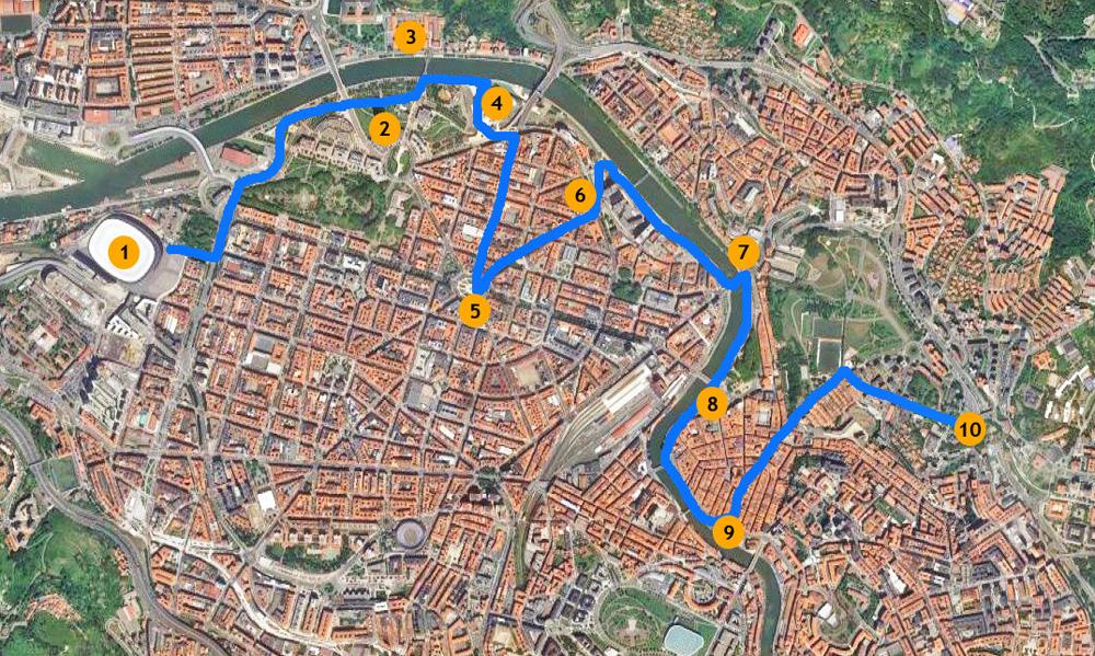 mapa bilbao ruta edificios bilbainos. Ruta por Bilbao a pie