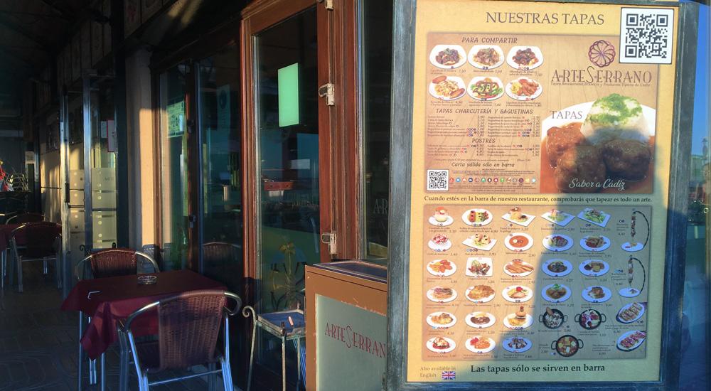Restaurante brasería Arte Serrano en Cádiz