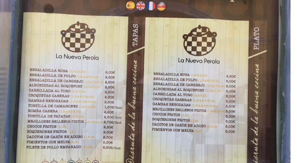 Carta de bar La Nueva Perola de Cádiz