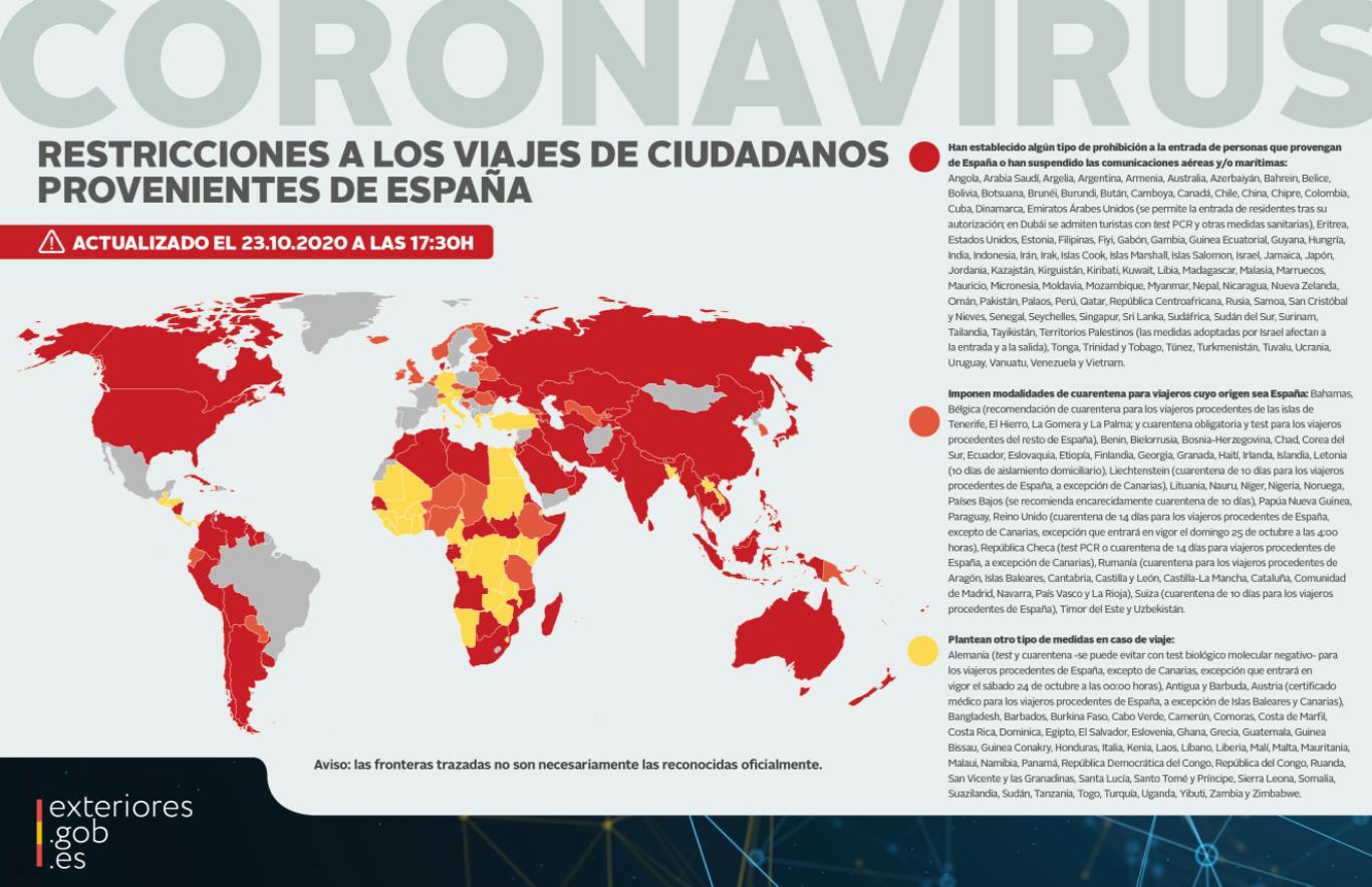 mapa de paises provenientes de España